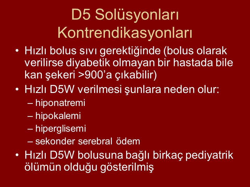 D5 Solüsyonları Kontrendikasyonları