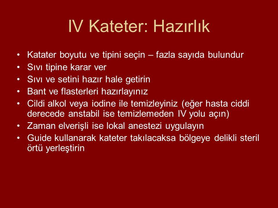 IV Kateter: Hazırlık Katater boyutu ve tipini seçin – fazla sayıda bulundur. Sıvı tipine karar ver.