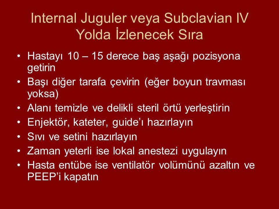 Internal Juguler veya Subclavian IV Yolda İzlenecek Sıra