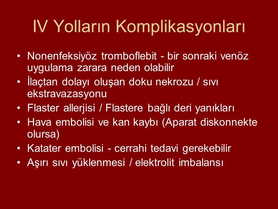 IV Yolların Komplikasyonları