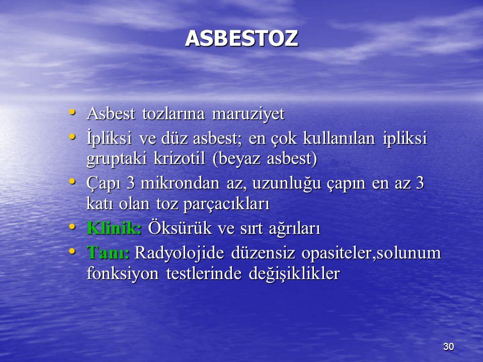 ASBESTOZ Asbest tozlarına maruziyet