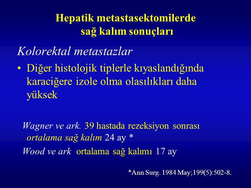 Hepatik metastasektomilerde sağ kalım sonuçları