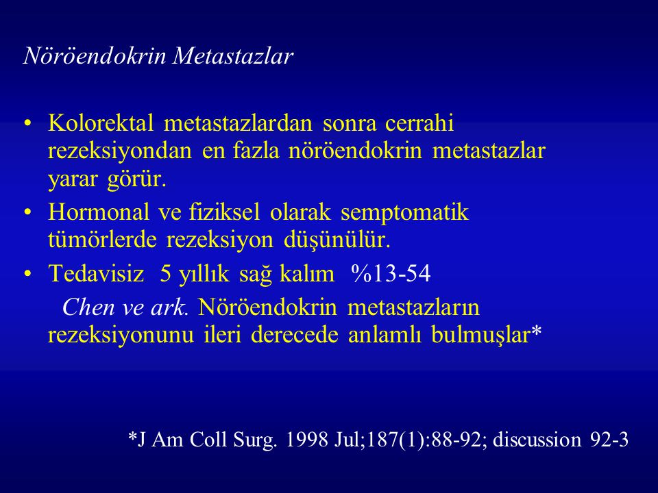 Nöröendokrin Metastazlar