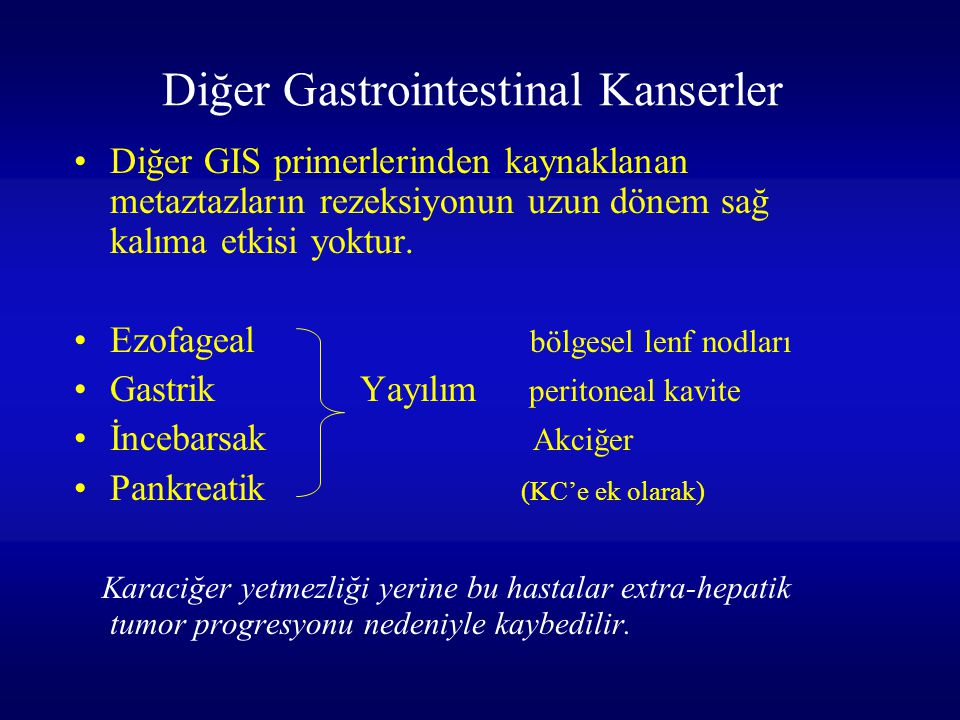 Diğer Gastrointestinal Kanserler