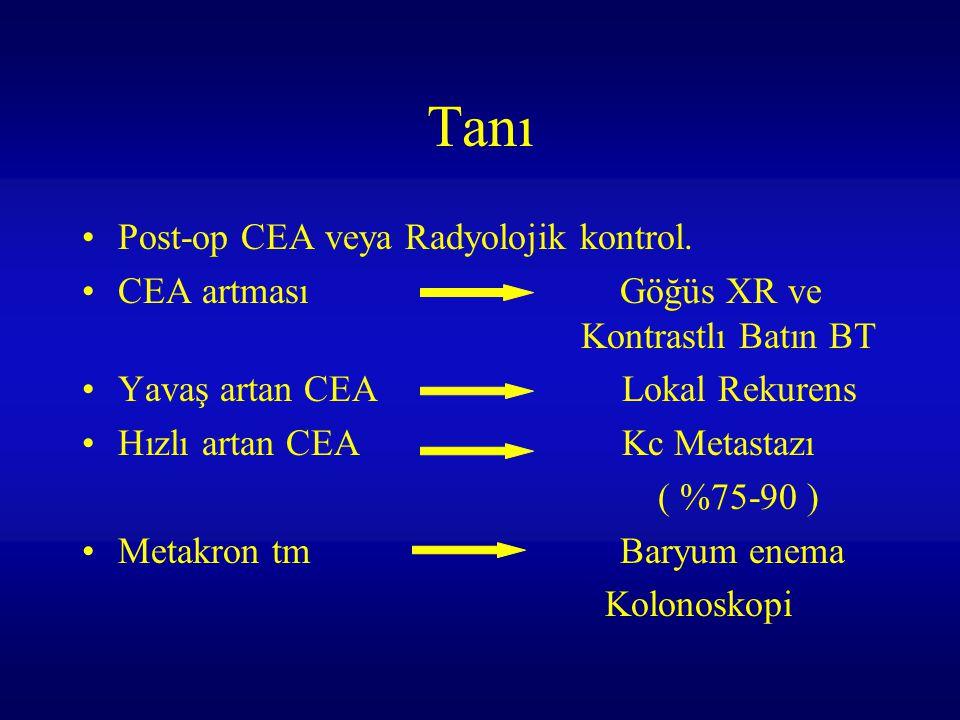 Tanı Post-op CEA veya Radyolojik kontrol.
