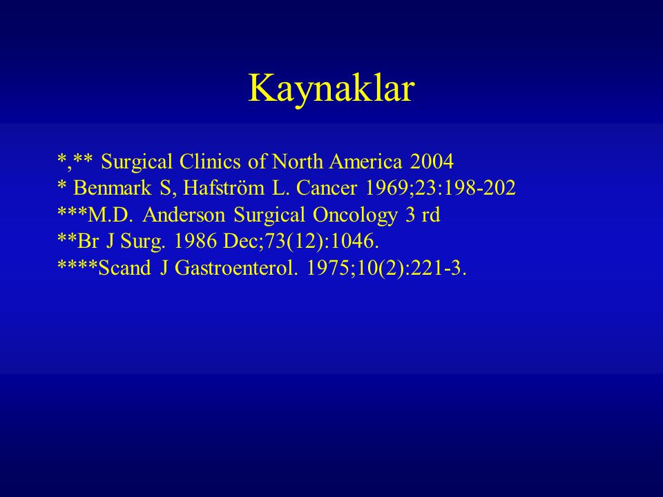 Kaynaklar *,** Surgical Clinics of North America 2004