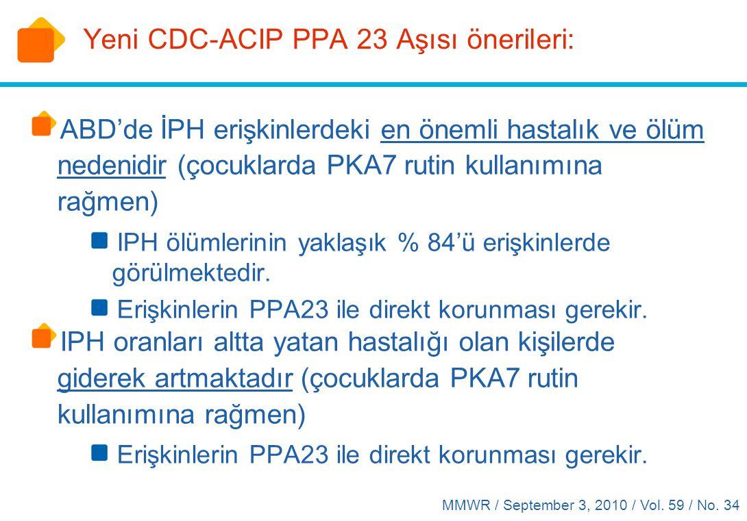 Yeni CDC-ACIP PPA 23 Aşısı önerileri: