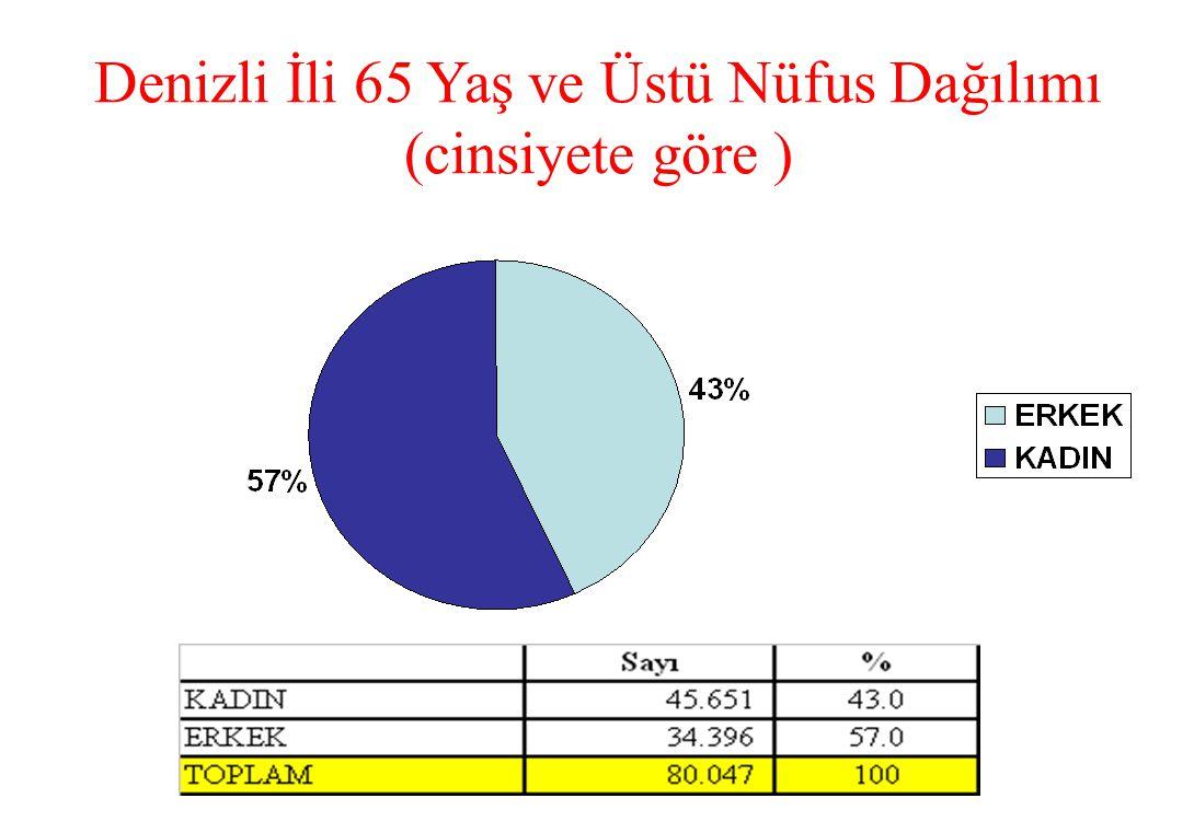 Denizli İli 65 Yaş ve Üstü Nüfus Dağılımı (cinsiyete göre )