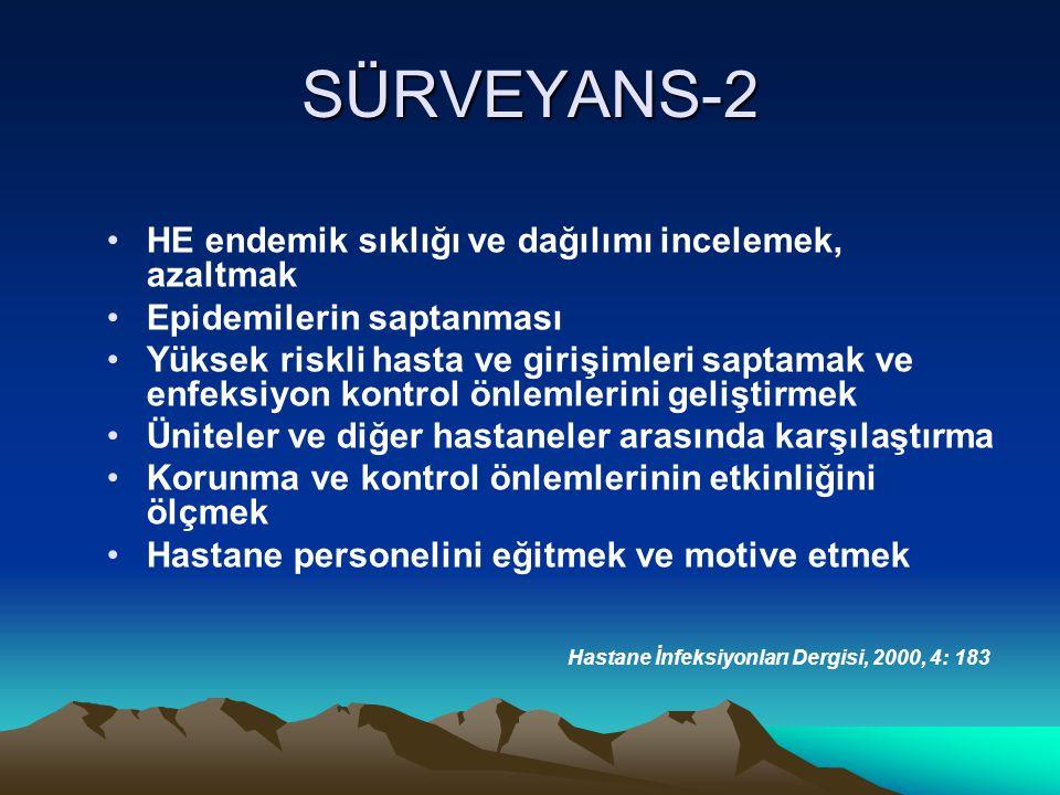 SÜRVEYANS-2 HE endemik sıklığı ve dağılımı incelemek, azaltmak