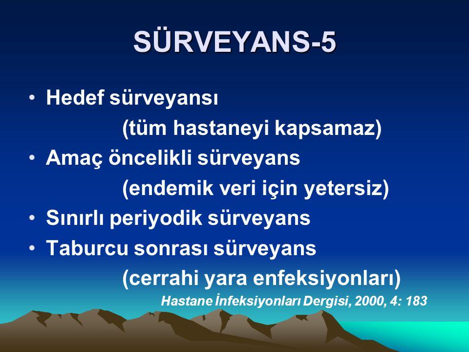SÜRVEYANS-5 Hedef sürveyansı (tüm hastaneyi kapsamaz)