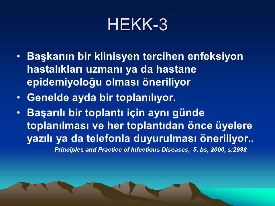 HEKK-3 Başkanın bir klinisyen tercihen enfeksiyon hastalıkları uzmanı ya da hastane epidemiyoloğu olması öneriliyor.