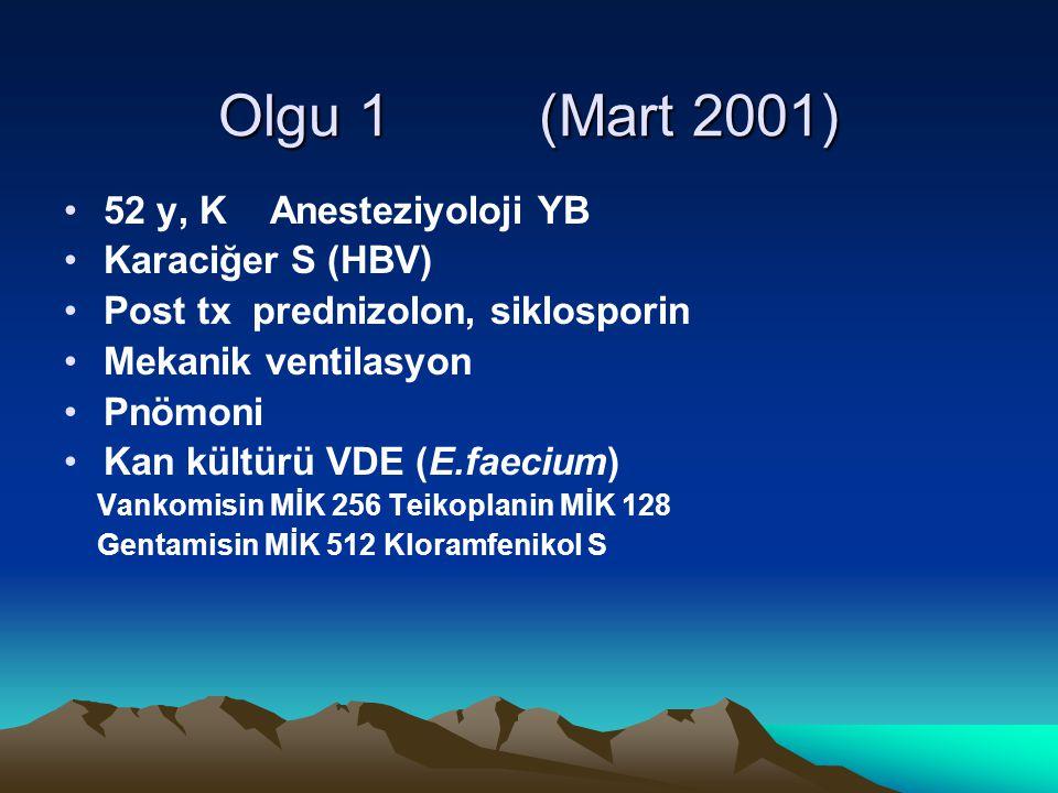 Olgu 1 (Mart 2001) 52 y, K Anesteziyoloji YB Karaciğer S (HBV)