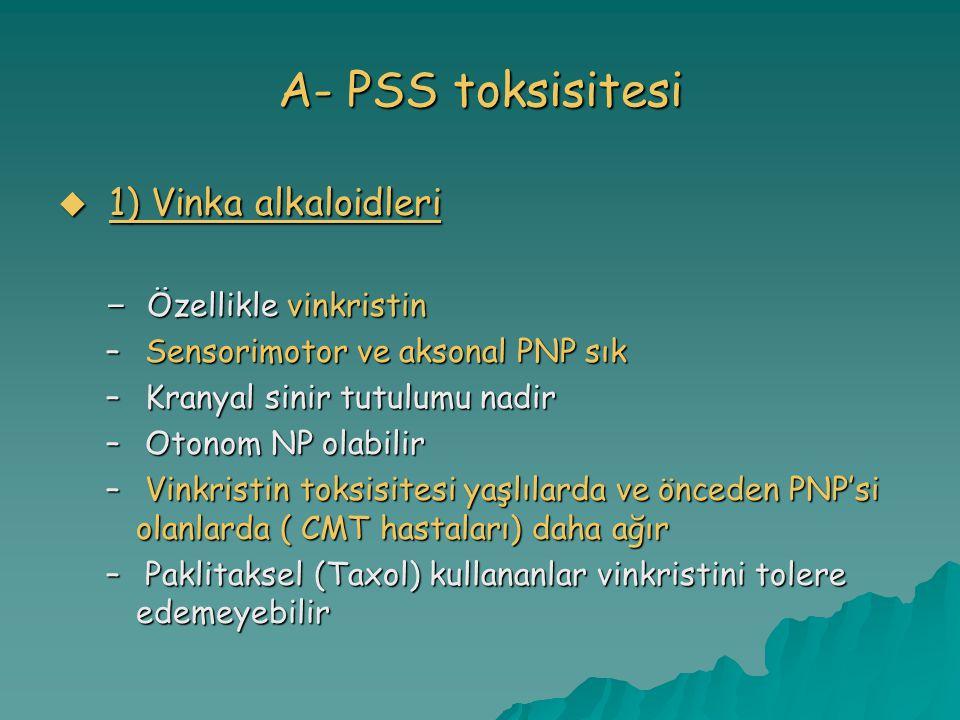 A- PSS toksisitesi 1) Vinka alkaloidleri Özellikle vinkristin