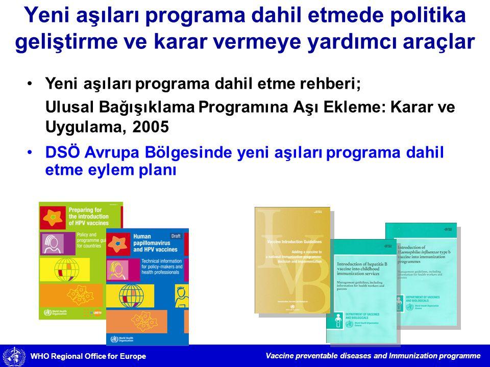Yeni aşıları programa dahil etmede politika geliştirme ve karar vermeye yardımcı araçlar