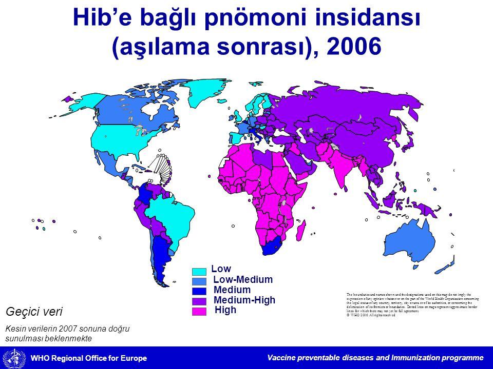 Hib'e bağlı pnömoni insidansı (aşılama sonrası), 2006