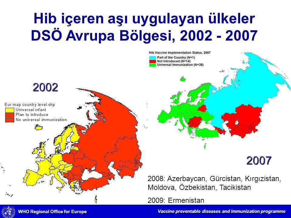 Hib içeren aşı uygulayan ülkeler DSÖ Avrupa Bölgesi, 2002 - 2007
