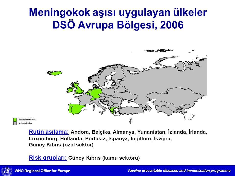 Meningokok aşısı uygulayan ülkeler DSÖ Avrupa Bölgesi, 2006