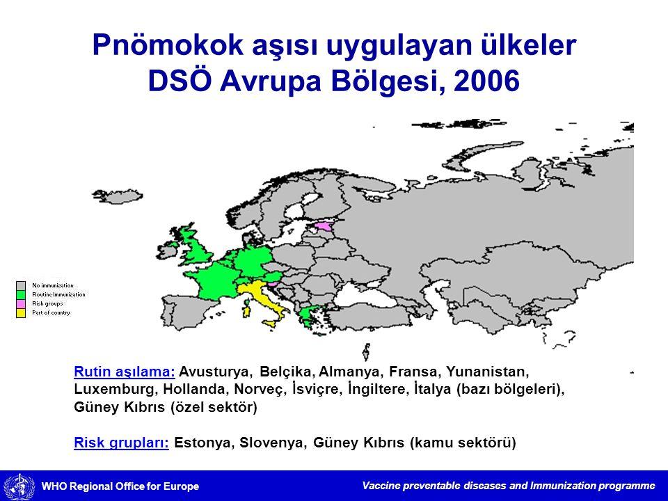 Pnömokok aşısı uygulayan ülkeler DSÖ Avrupa Bölgesi, 2006