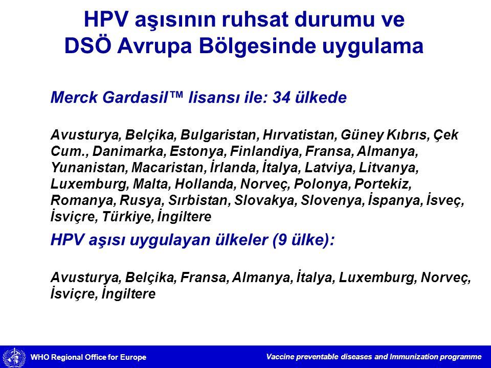 HPV aşısının ruhsat durumu ve DSÖ Avrupa Bölgesinde uygulama