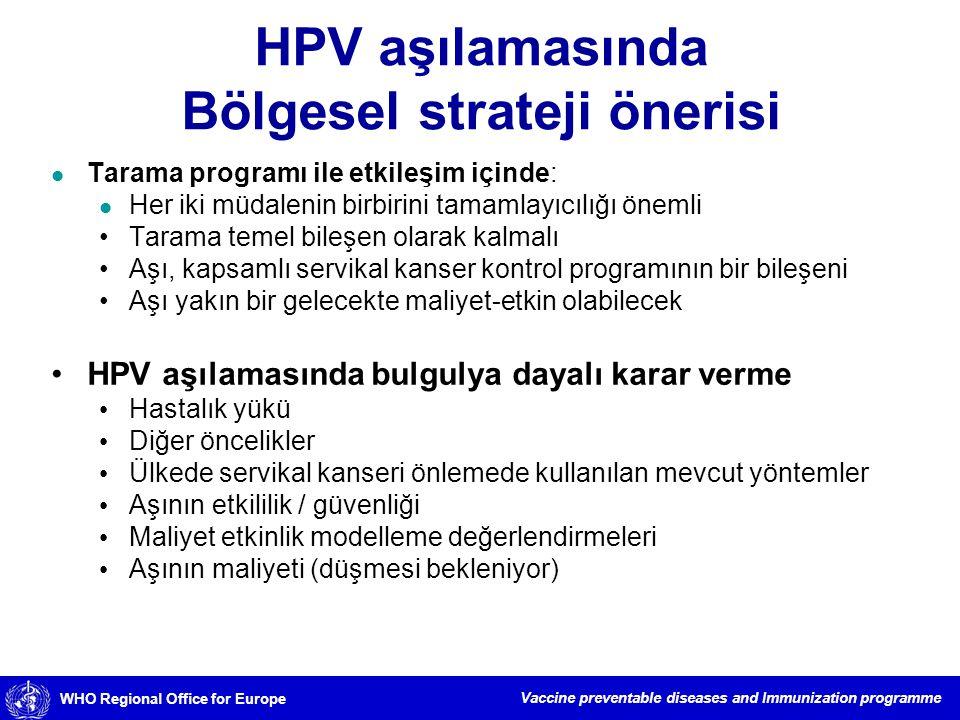 HPV aşılamasında Bölgesel strateji önerisi