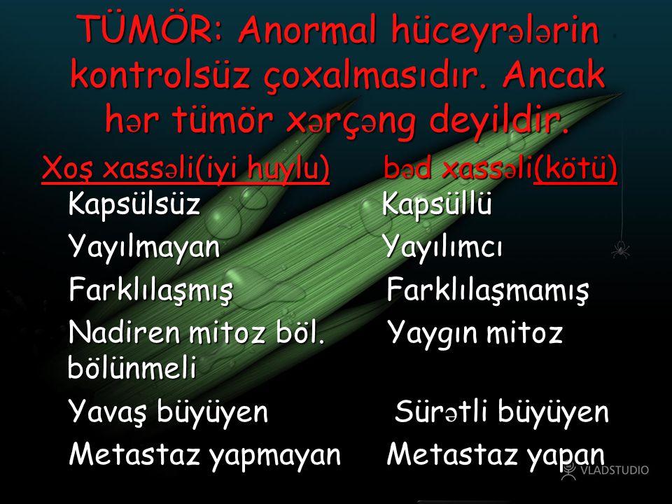 TÜMÖR: Anormal hüceyrələrin kontrolsüz çoxalmasıdır