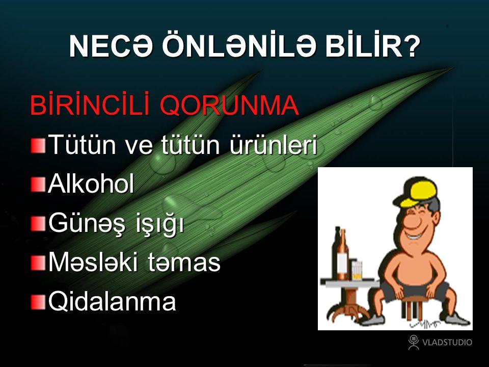 NECƏ ÖNLƏNİLƏ BİLİR BİRİNCİLİ QORUNMA Tütün ve tütün ürünleri Alkohol