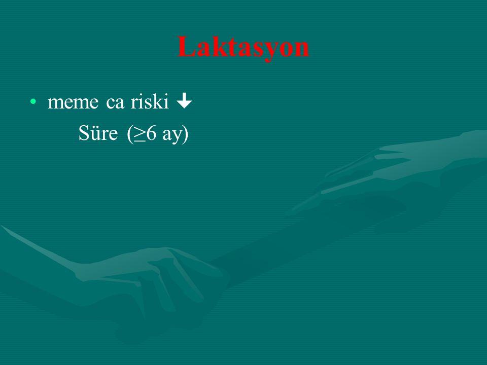 Laktasyon meme ca riski  Süre (≥6 ay)