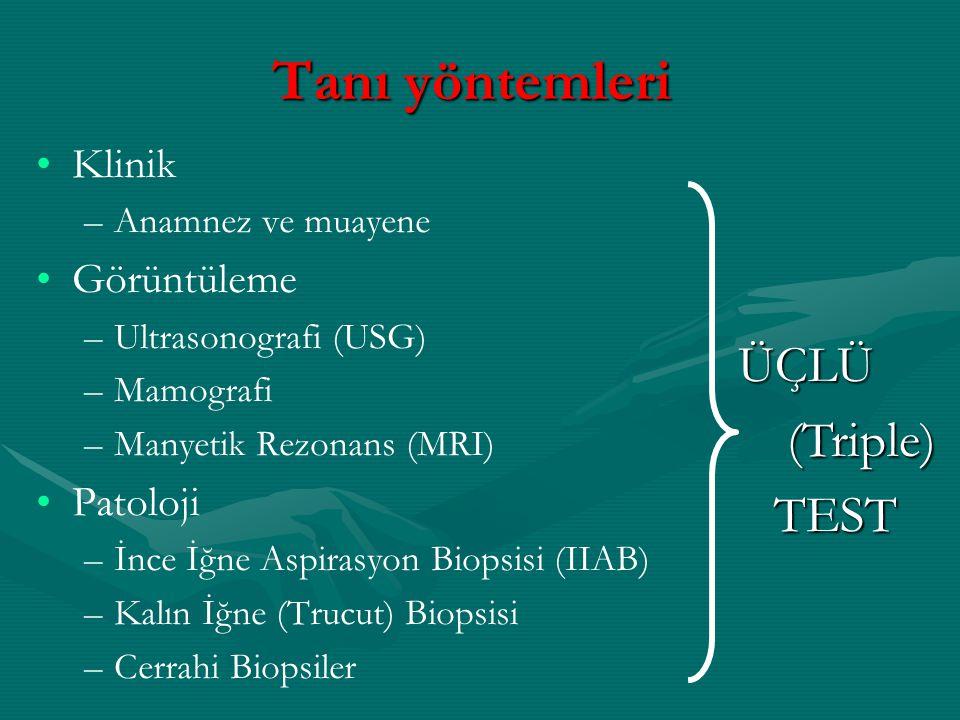 Tanı yöntemleri ÜÇLÜ (Triple) TEST Klinik Görüntüleme Patoloji