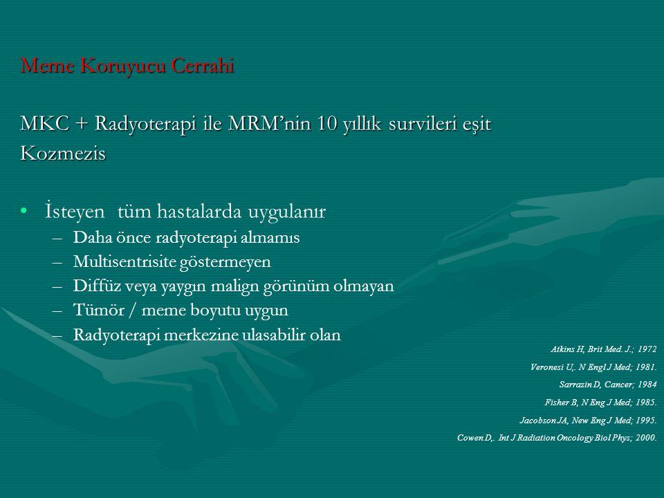 MKC + Radyoterapi ile MRM'nin 10 yıllık survileri eşit Kozmezis