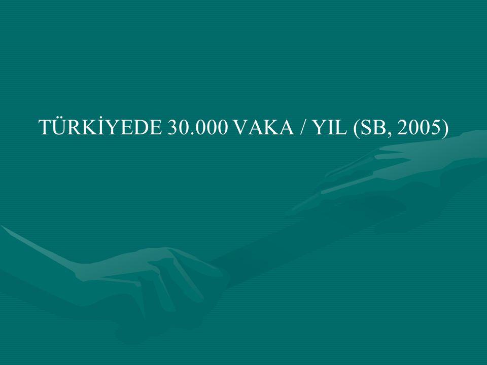 TÜRKİYEDE 30.000 VAKA / YIL (SB, 2005)