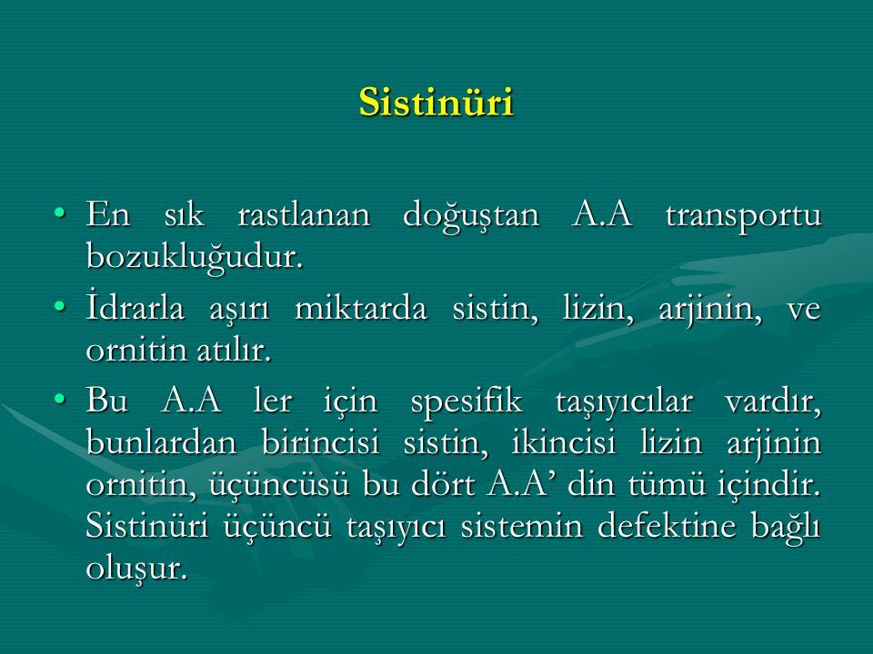 Sistinüri En sık rastlanan doğuştan A.A transportu bozukluğudur.