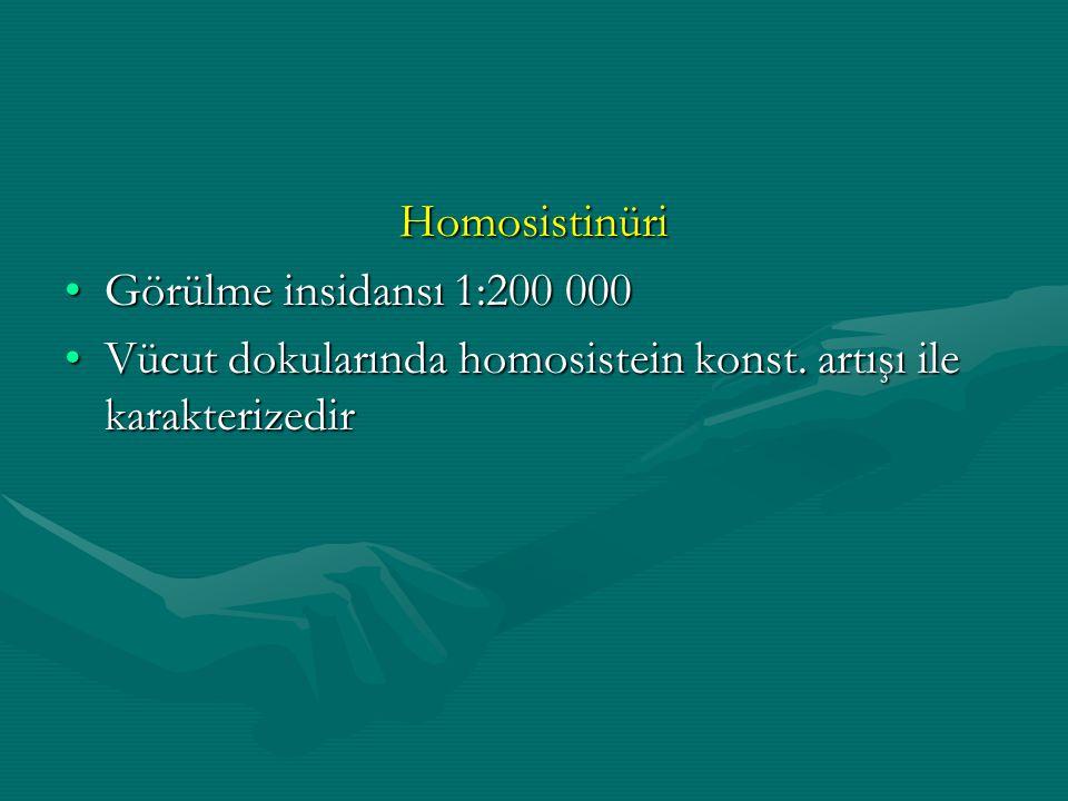 Homosistinüri Görülme insidansı 1:200 000. Vücut dokularında homosistein konst.