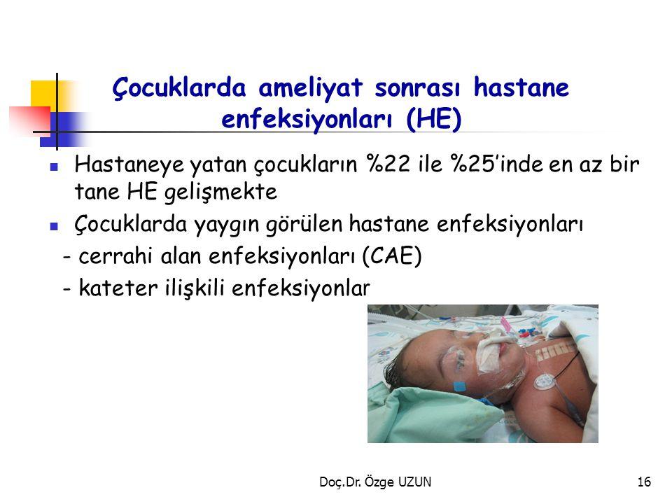 Çocuklarda ameliyat sonrası hastane enfeksiyonları (HE)