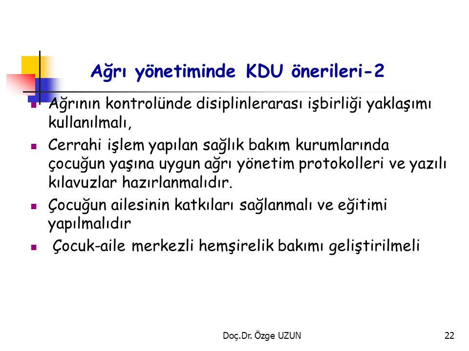 Ağrı yönetiminde KDU önerileri-2