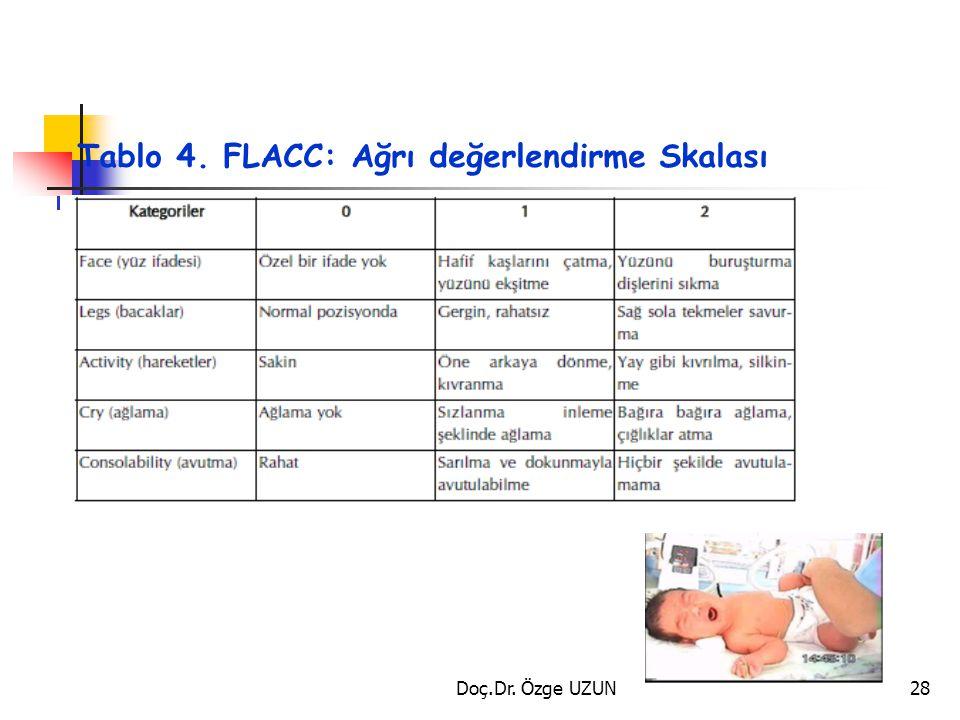 Tablo 4. FLACC: Ağrı değerlendirme Skalası