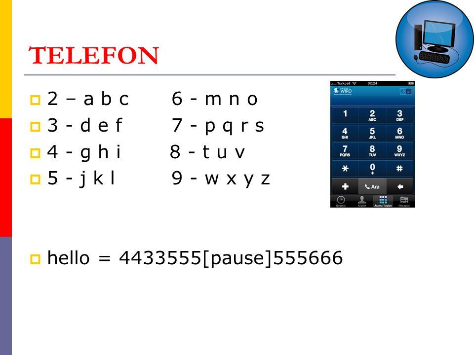 TELEFON 2 – a b c 6 - m n o 3 - d e f 7 - p q r s 4 - g h i 8 - t u v