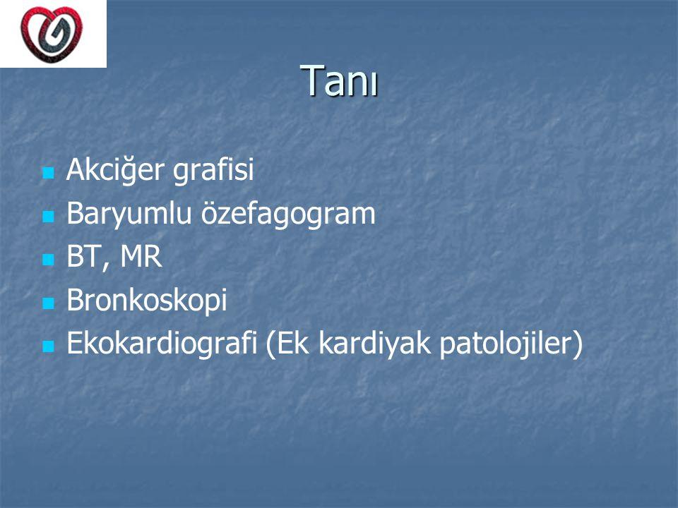 Tanı Akciğer grafisi Baryumlu özefagogram BT, MR Bronkoskopi