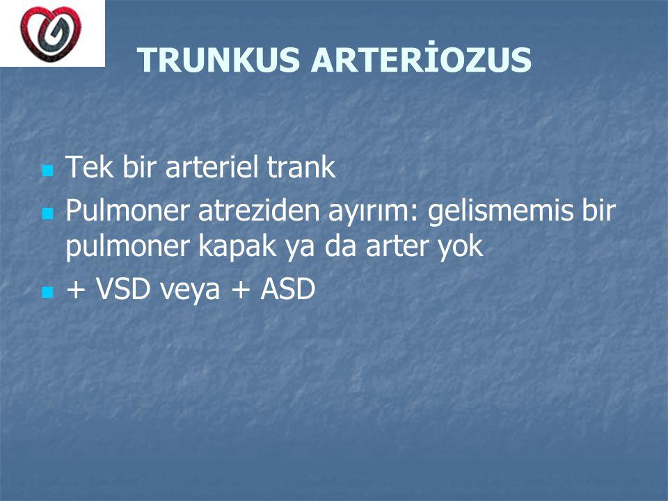 TRUNKUS ARTERİOZUS Tek bir arteriel trank