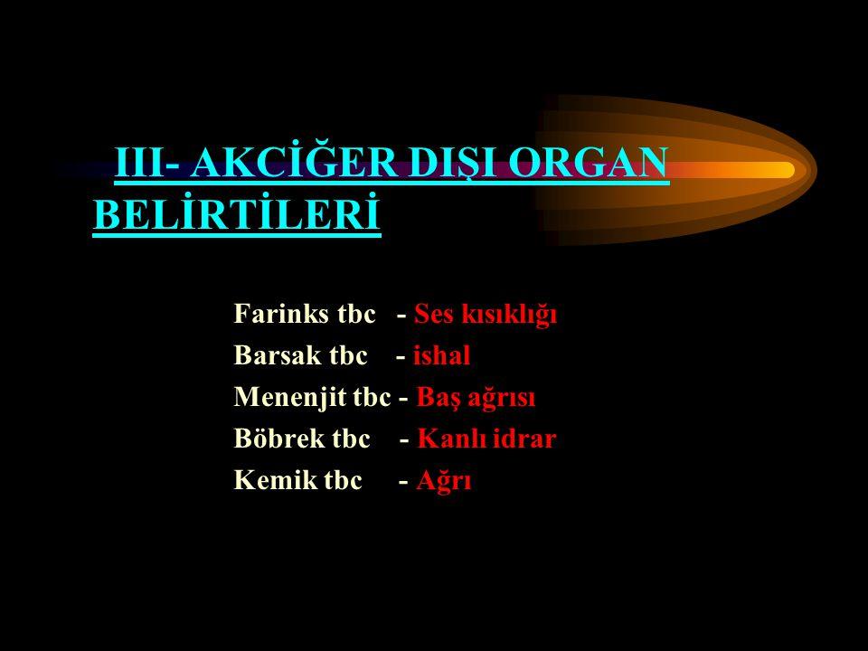 III- AKCİĞER DIŞI ORGAN BELİRTİLERİ