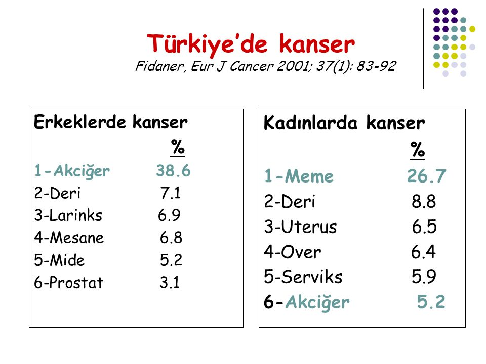 Türkiye'de kanser Fidaner, Eur J Cancer 2001; 37(1): 83-92
