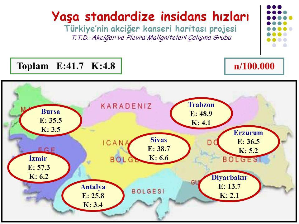 Yaşa standardize insidans hızları Türkiye'nin akciğer kanseri haritası projesi T.T.D. Akciğer ve Plevra Maligniteleri Çalışma Grubu