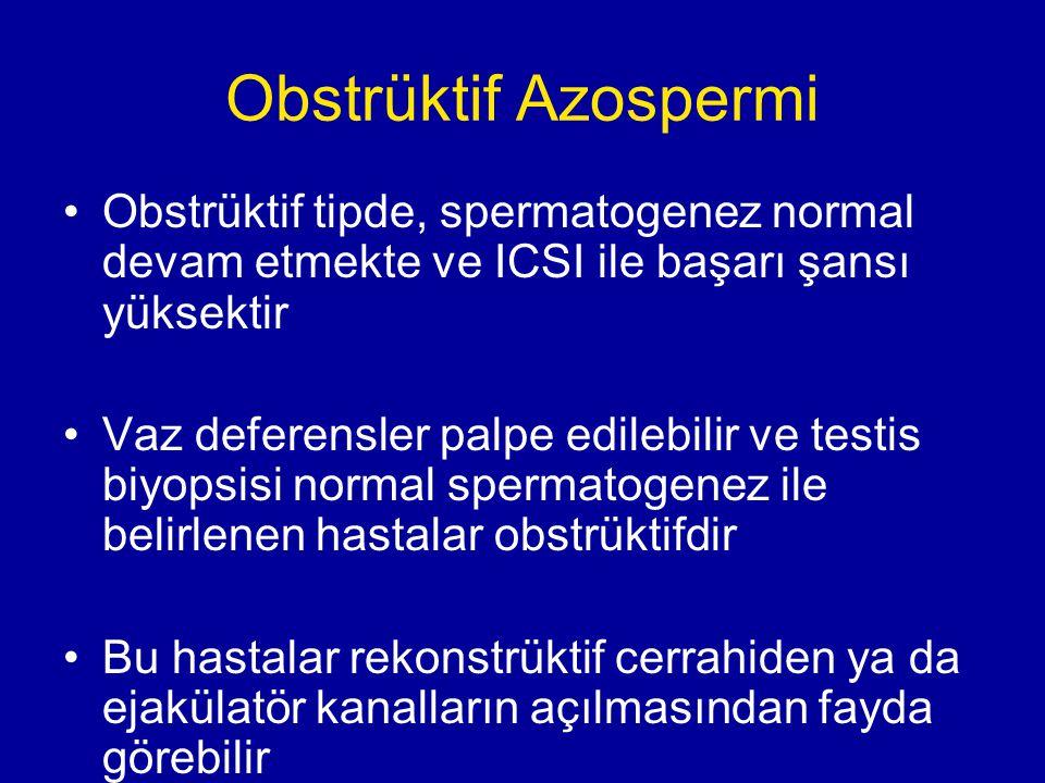 Obstrüktif Azospermi Obstrüktif tipde, spermatogenez normal devam etmekte ve ICSI ile başarı şansı yüksektir.