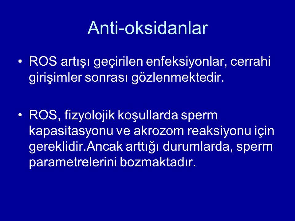 Anti-oksidanlar ROS artışı geçirilen enfeksiyonlar, cerrahi girişimler sonrası gözlenmektedir.