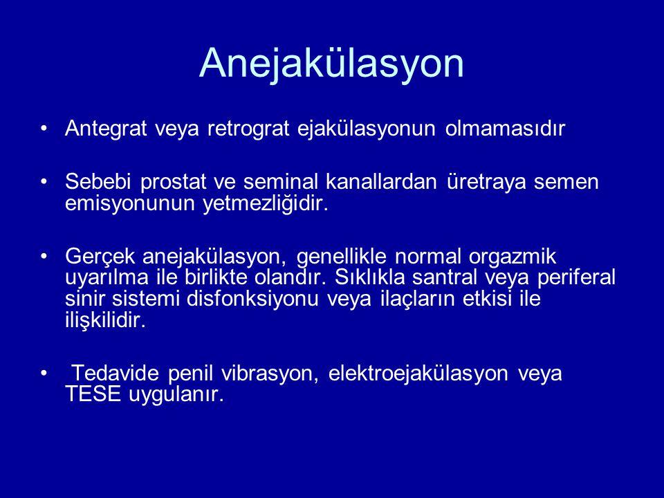 Anejakülasyon Antegrat veya retrograt ejakülasyonun olmamasıdır