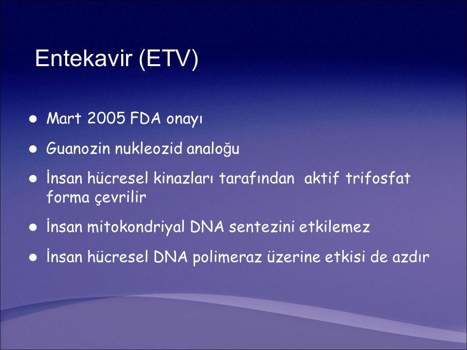 Entekavir (ETV) Mart 2005 FDA onayı Guanozin nukleozid analoğu