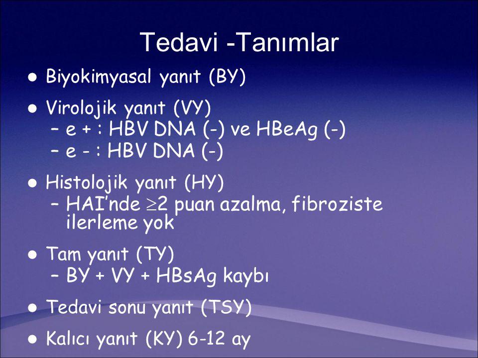 Tedavi -Tanımlar e + : HBV DNA (-) ve HBeAg (-) e - : HBV DNA (-)