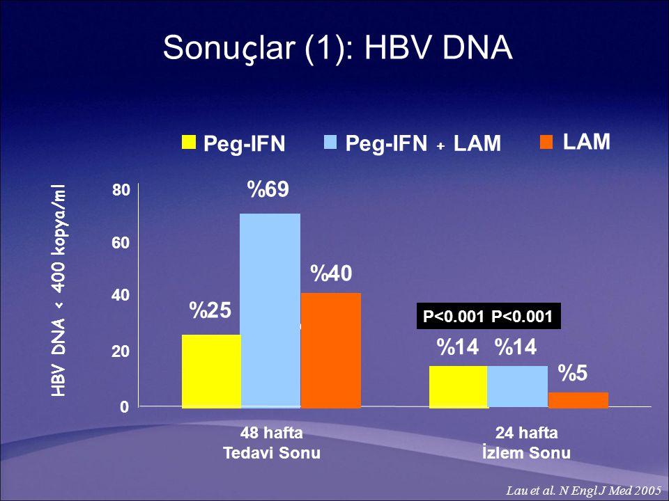 Sonuçlar (1): HBV DNA LAM Peg-IFN Peg-IFN + LAM %69 %40 %25 %40 %14