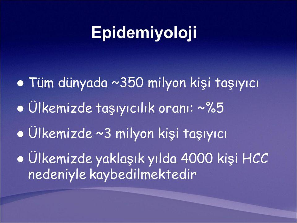 Epidemiyoloji Tüm dünyada ~350 milyon kişi taşıyıcı