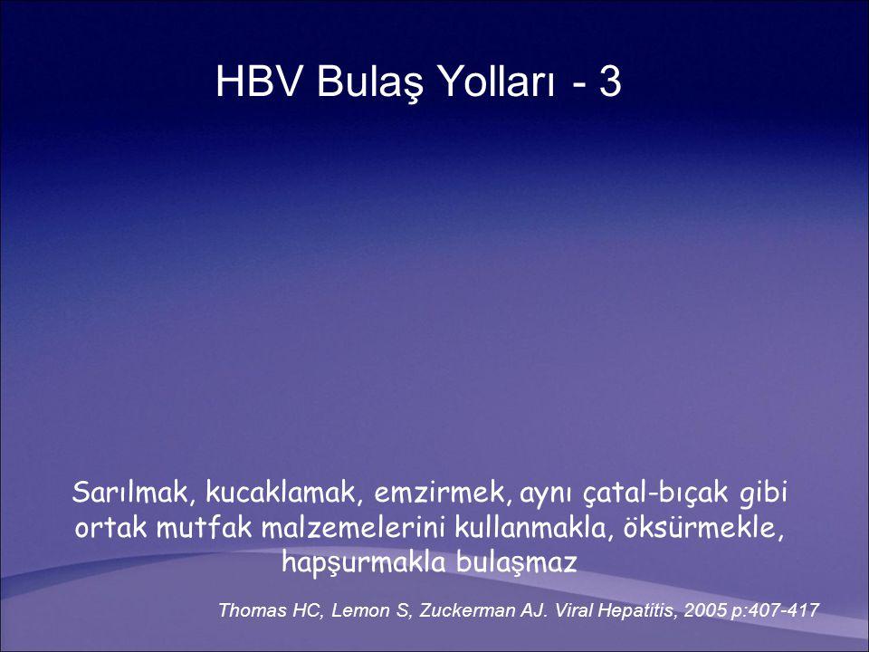 HBV Bulaş Yolları - 3 Sarılmak, kucaklamak, emzirmek, aynı çatal-bıçak gibi ortak mutfak malzemelerini kullanmakla, öksürmekle, hapşurmakla bulaşmaz.