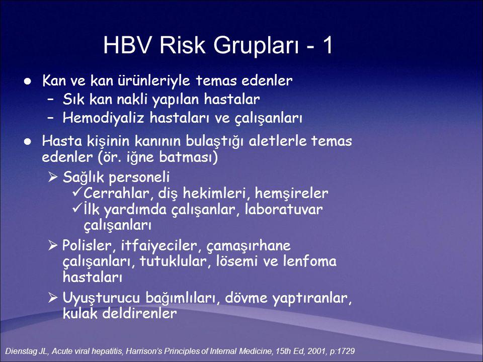 HBV Risk Grupları - 1 Kan ve kan ürünleriyle temas edenler